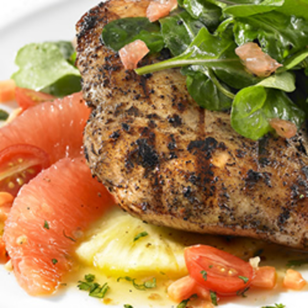 Florida Grapefruit and Jerk-Grilled Chicken with Arugula Salad