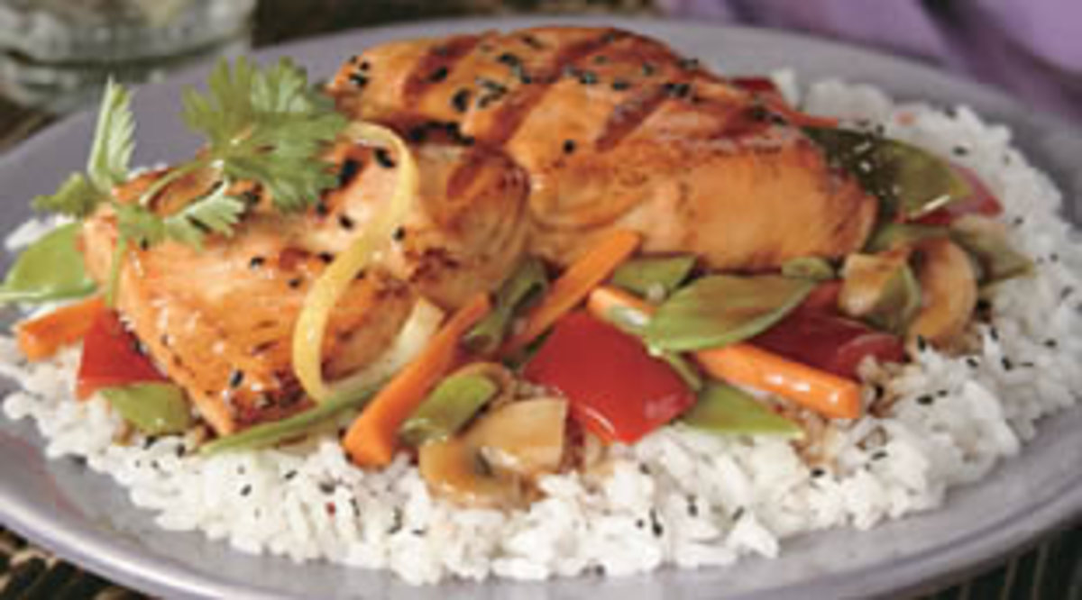 Soy Glazed Salmon with Vegetables & Rice