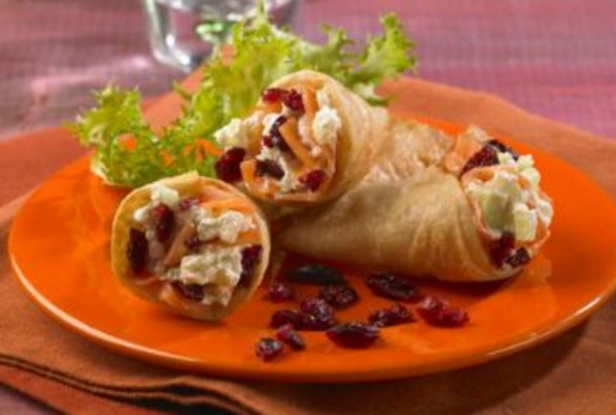 Smoked Salmon and Cranberry Cones