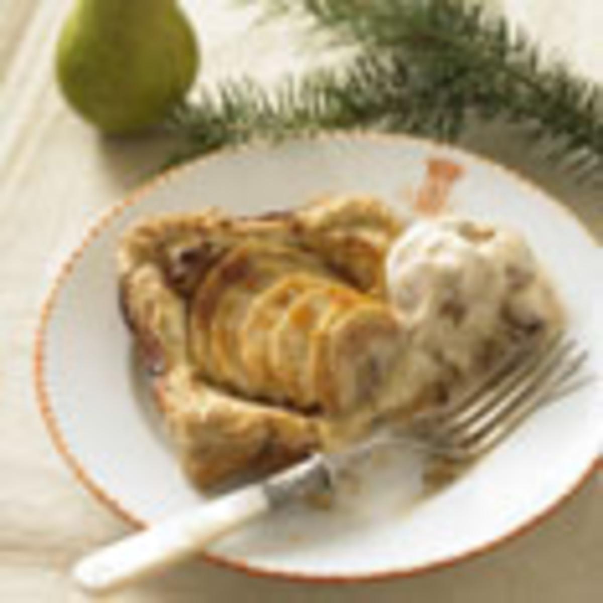 Individual Anjou Pear Tarts with Caramel Ice Cream