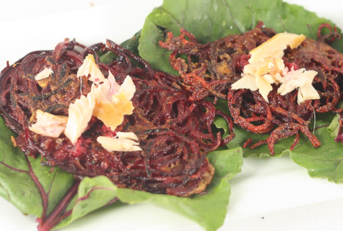 Beet Latkes with Horseradish and Smoked Fish 647