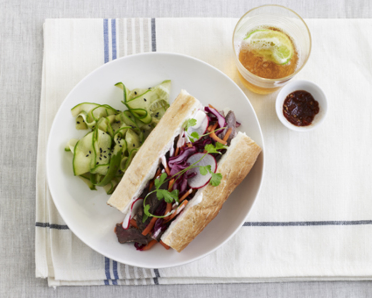 Teriayki Beef Banh Mi with Sesame Cucumber Salad