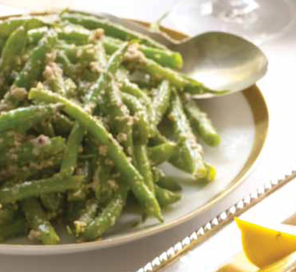 Green Beans with Walnut and Green Olive Tapenade