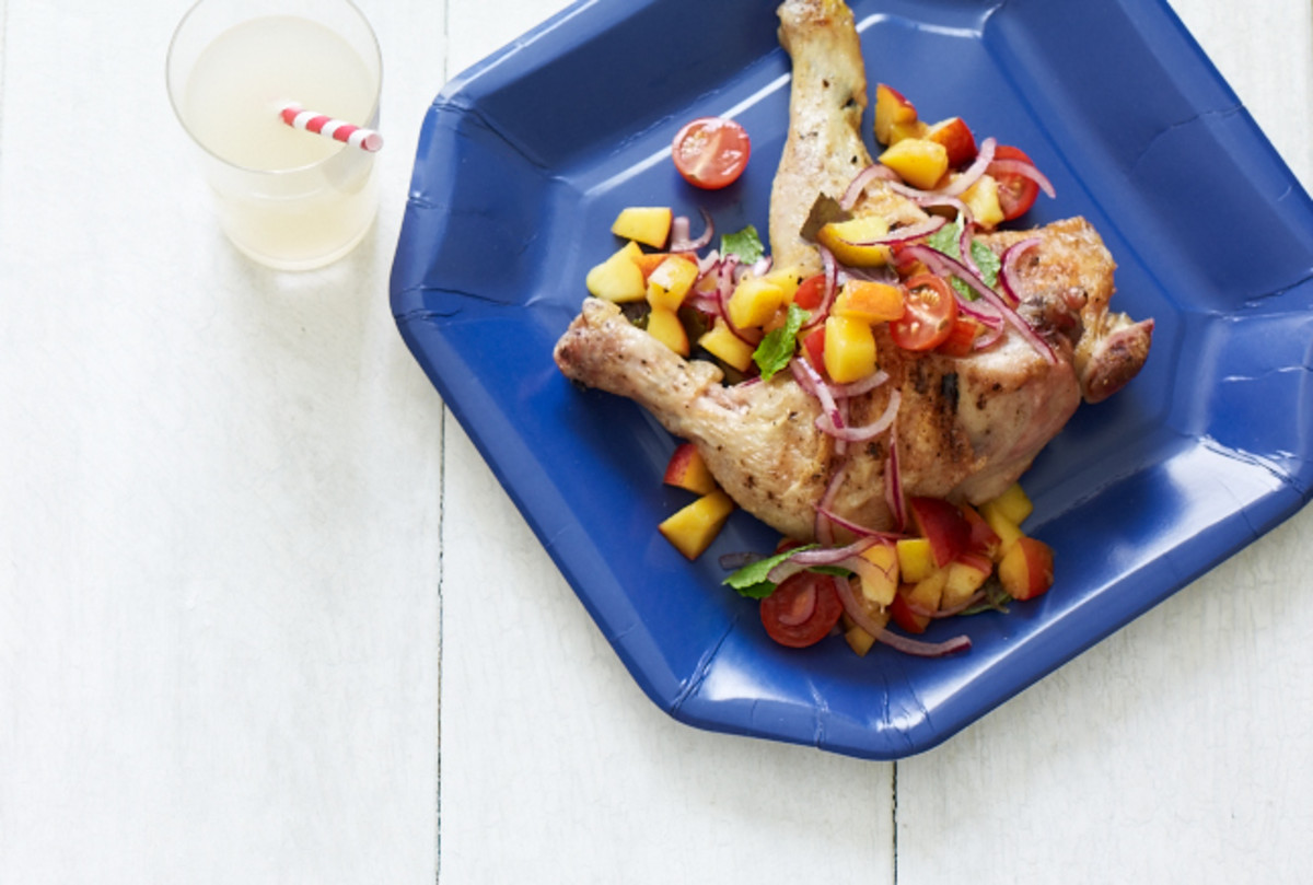 Grilled Chicken Legs with Peach Salsa