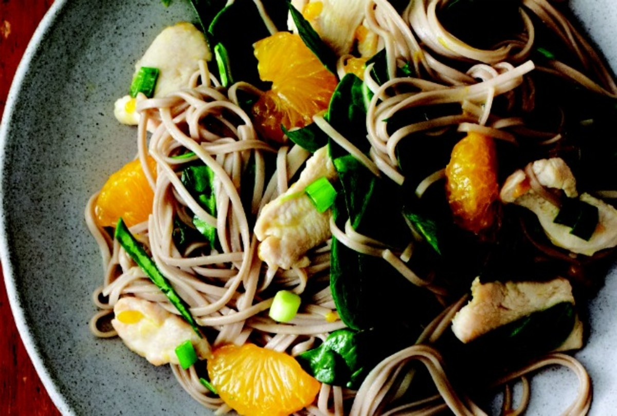 Cool Soba with Citrus Chicken and Spinach