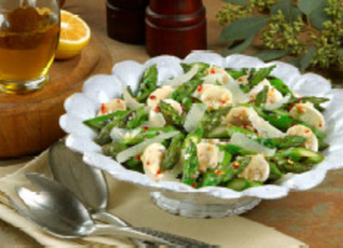 Grilled California Asparagus and Mushroom Salad with Shaved Parmesan