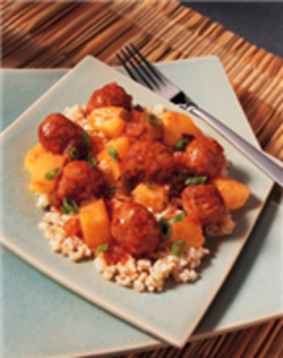 Sweet & Spicy Chinese Meatballs on Brown Rice