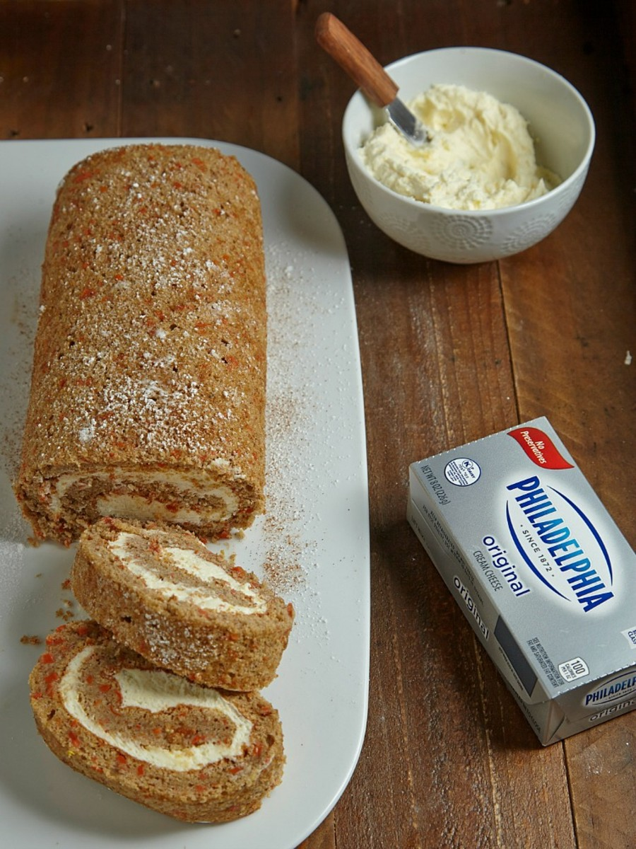 carrot cake roll with lemon cream cheese filling