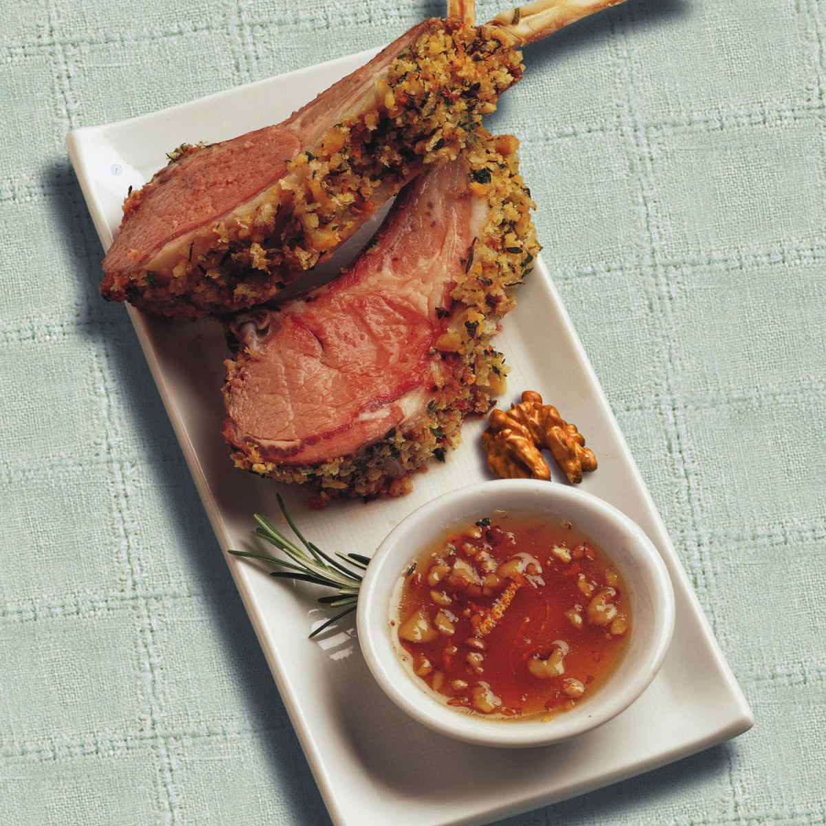 Petit Walnut-Coated Lamb Chops with Honey Dipping Sauce