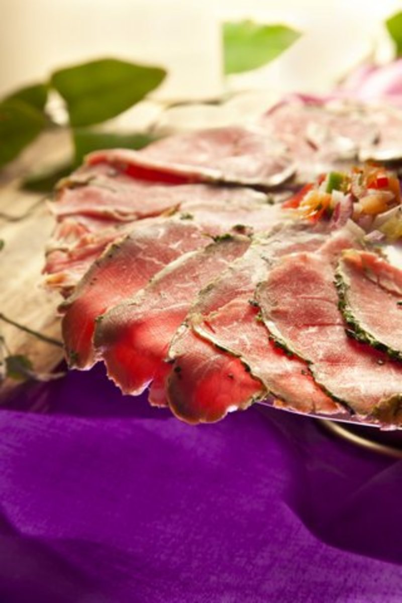 carpaccio with tomato viniagrette