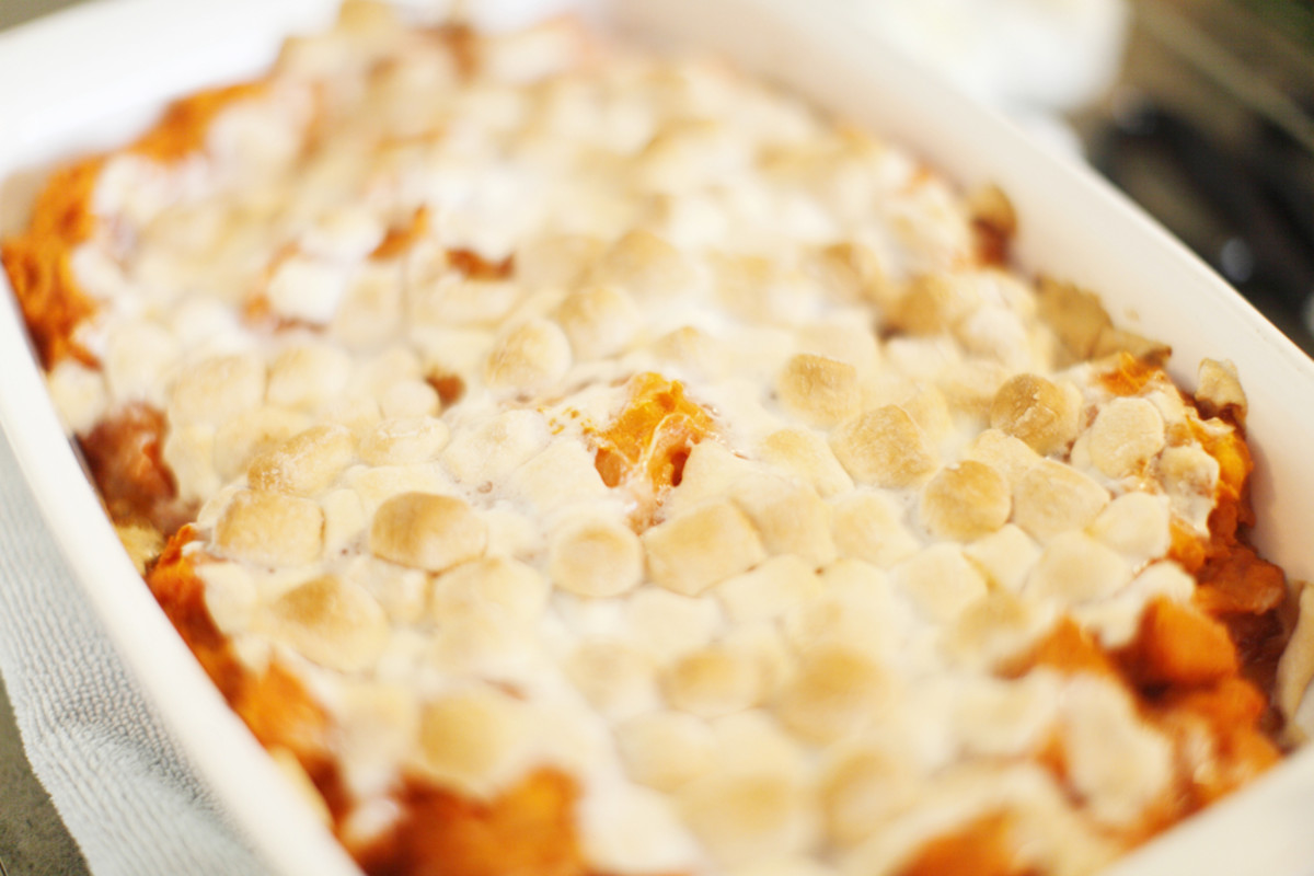 mashed sweet ptoatoes with honey and marshmallow topping