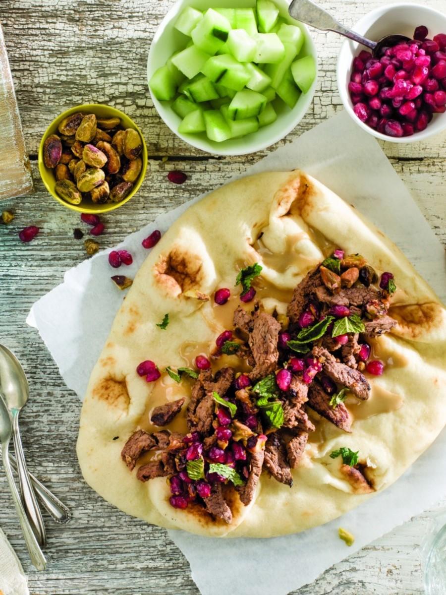 Lamb Shawarma with Pommegranate Mint Salsa