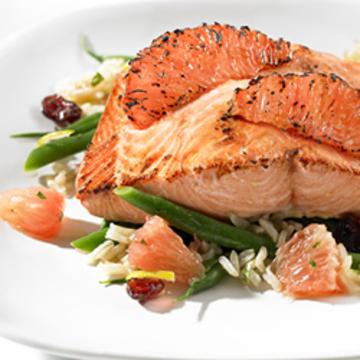 Sugar-crusted Salmon with Florida Grapefruit and French Green Bean Salad