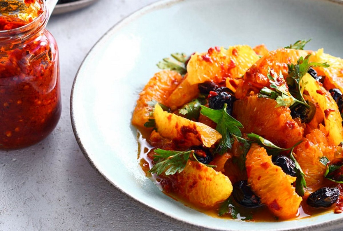 olive harissa orange salad