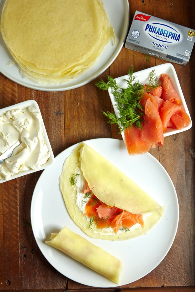 salmon passover crepes