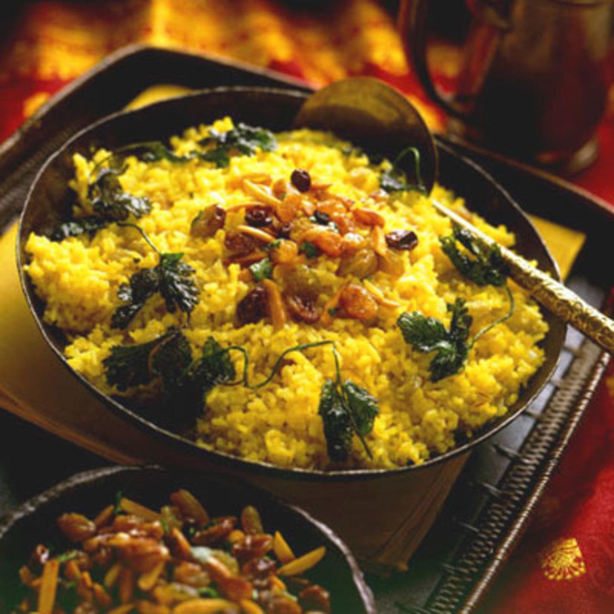 Raisin Saffron Basmati Rice Pilaf (Zaffran Kismis Pullao)