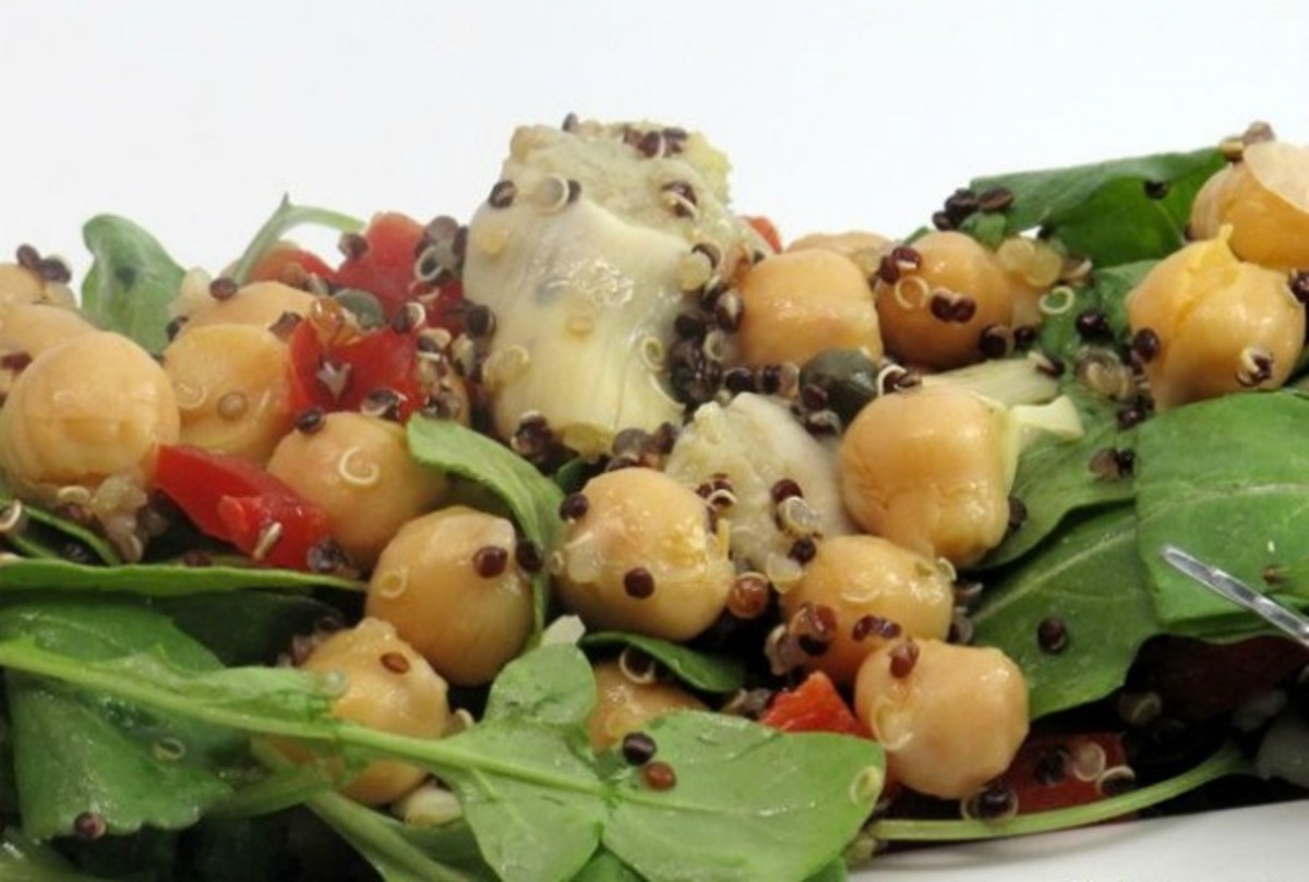 Firecracker Quinoa Salad with Chickpeas and Artichoke Hearts