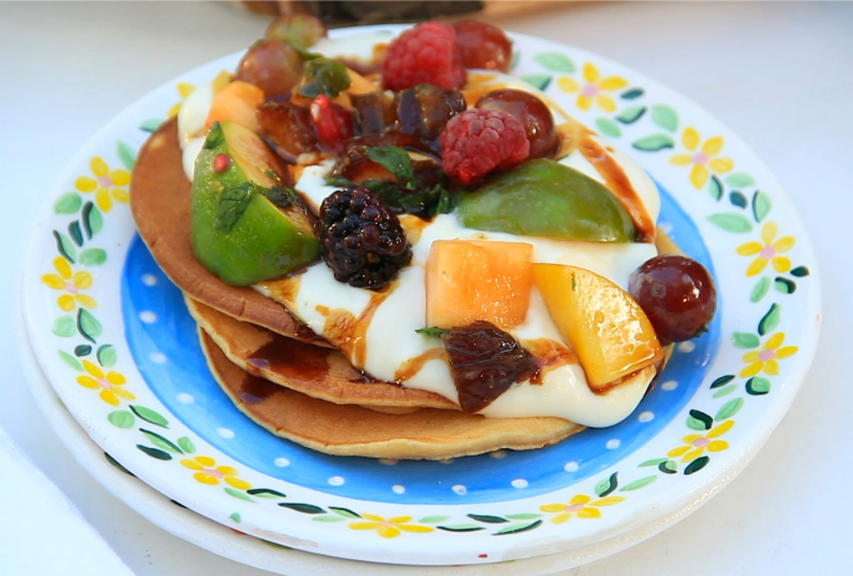 Yogurt Date Honey Pancakes with Sheva Minim Salad