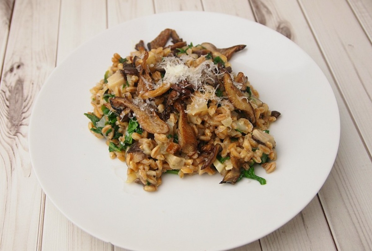 Mushroom Farro with Spinach