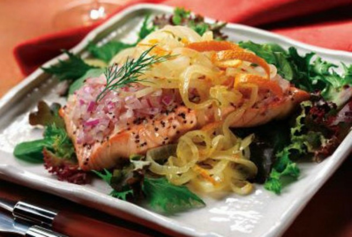 Chilled Salmon Salad with Orange Citrus Onions