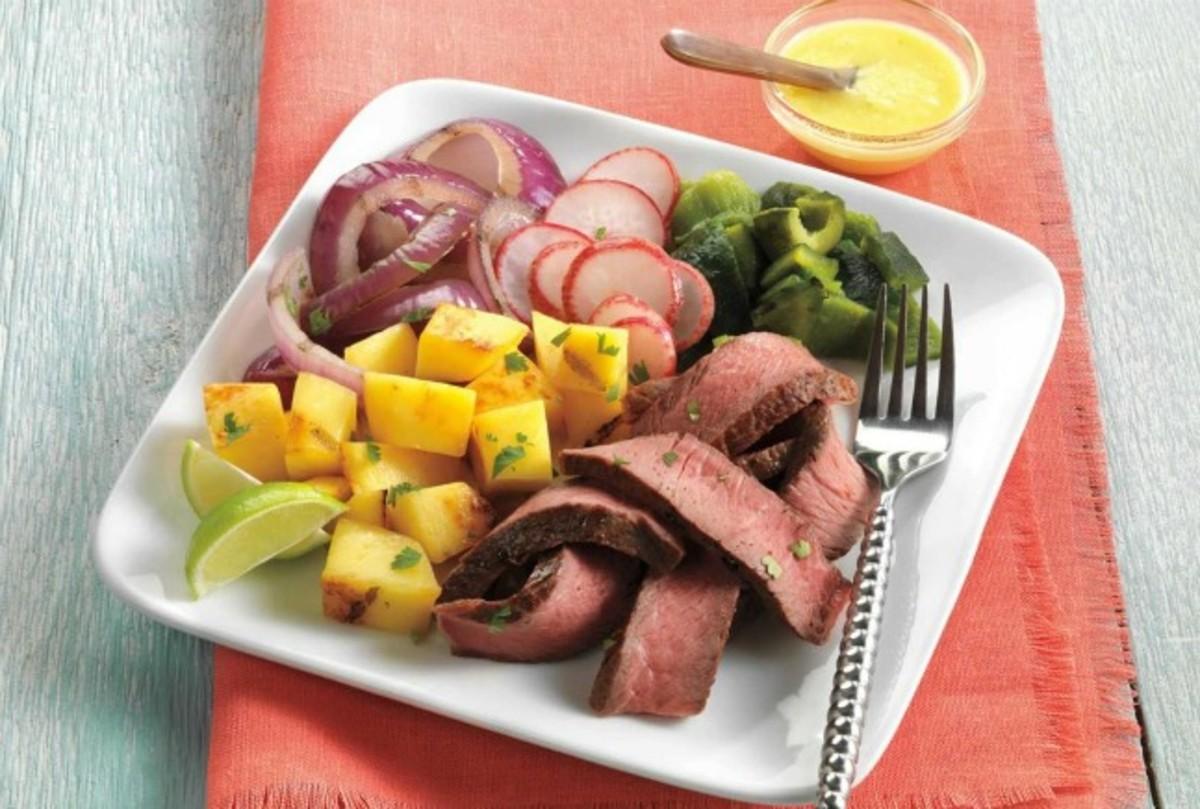Beef Fajita Salad with Mango-Serrano Vinaigrette