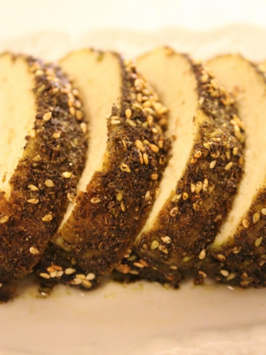 zaatar crusted gefilte fish pin