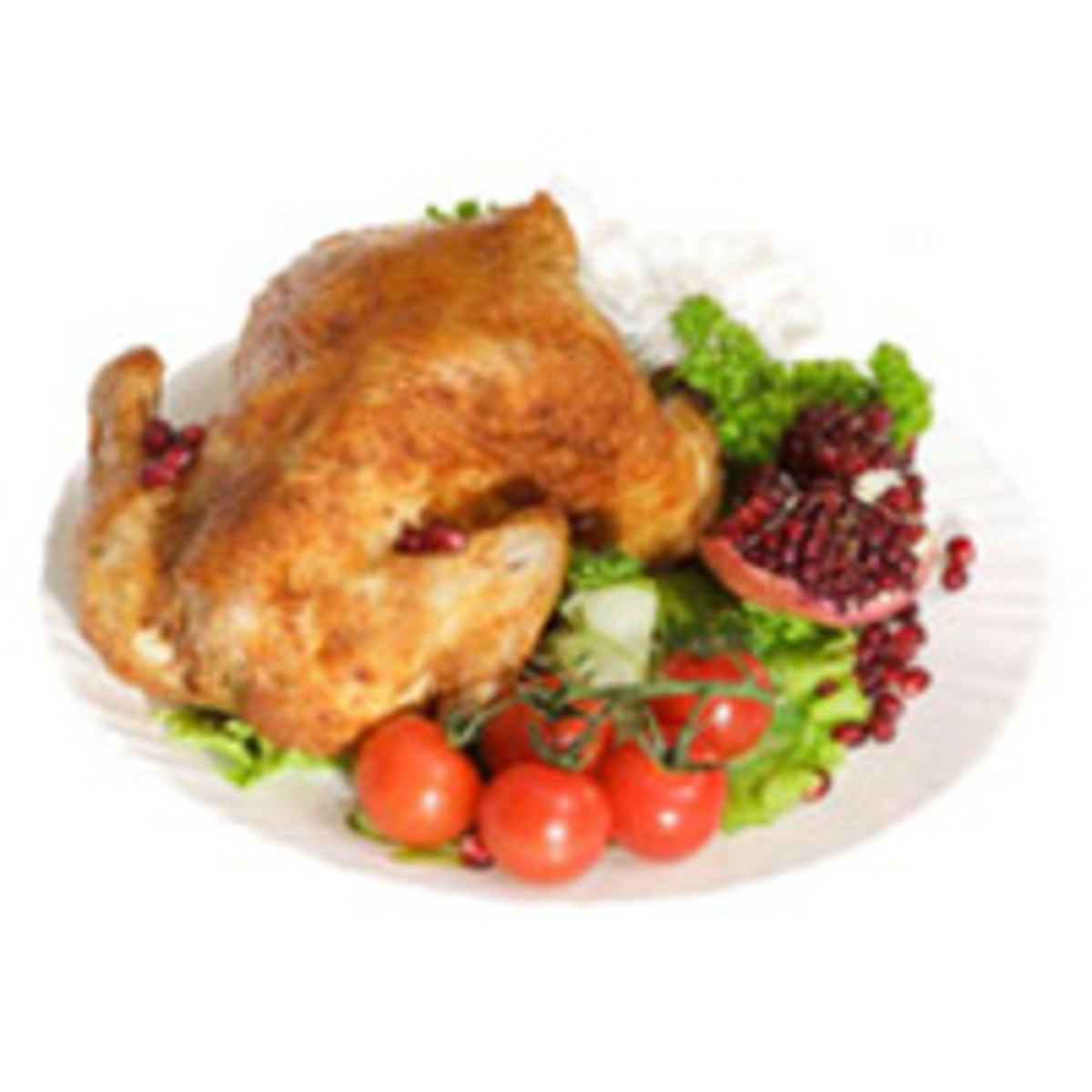 Roasted Chicken with Apple, Leek and Pomegranate