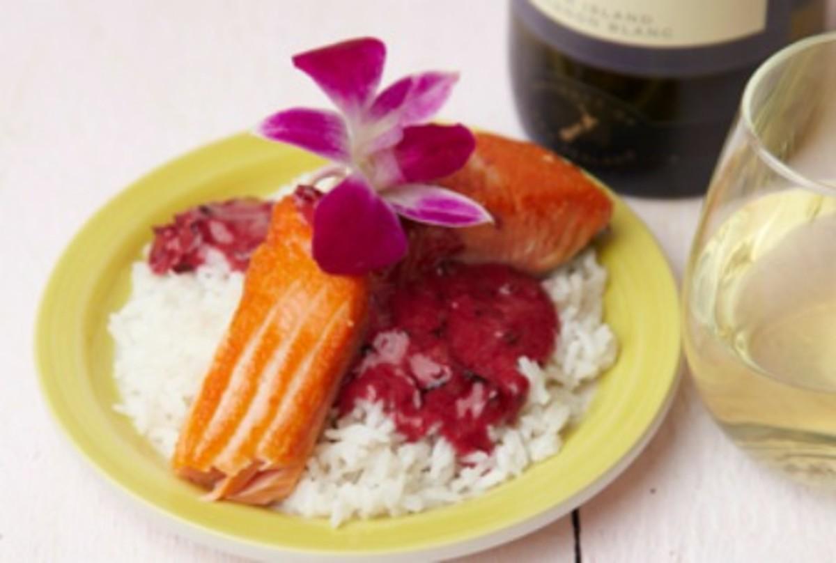 salmon with hibiscus cream sauce