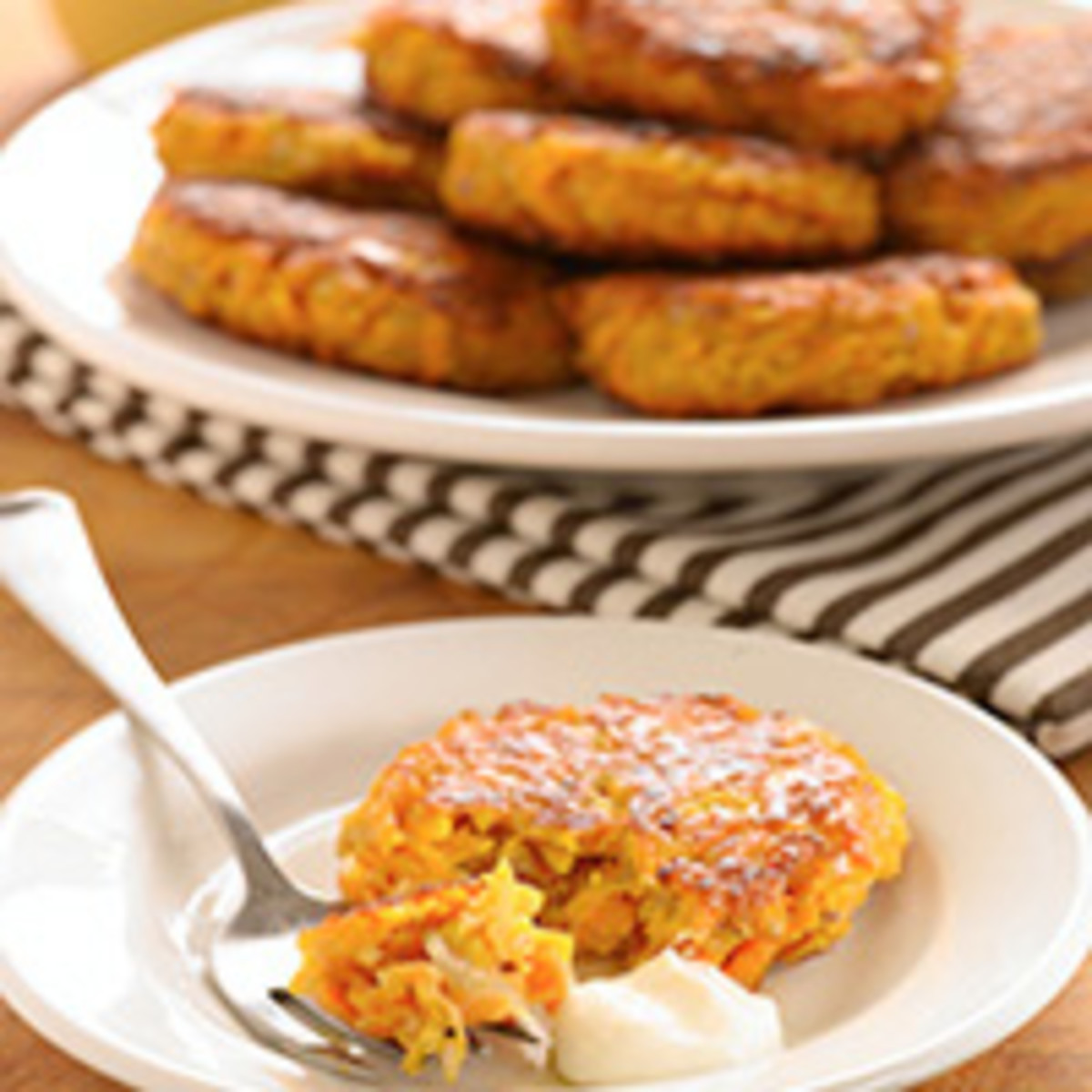 Baked Sweet Potato Latkes and Gingered Sour Cream