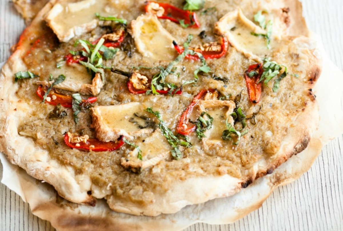 mediterranea pizza with eggplant and brie