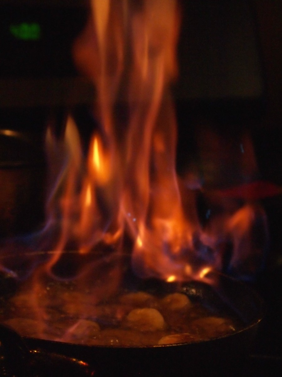 Bananas Flambe on Fire