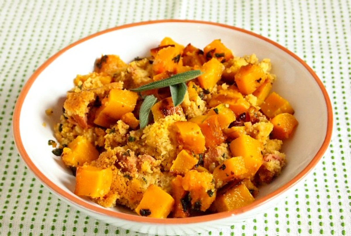 Cornbread Stuffing with Sausage and Squash