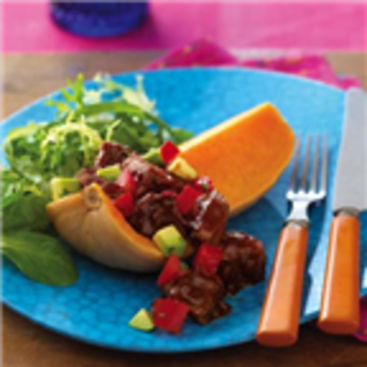 Nuevo Chipotle Beef in Butternut Squash Boats