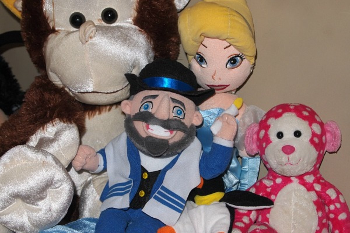 mensch on a bench with stuffed animals