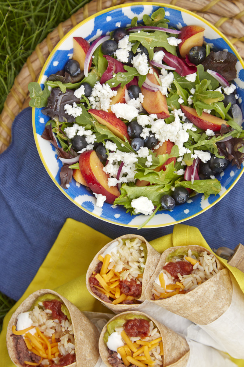 Blueberry, Peach, and Goat Cheese Wrap or Salad