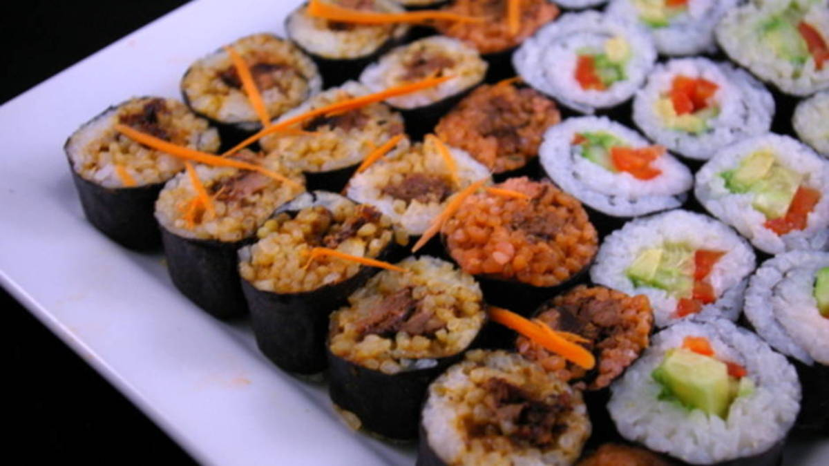 Tricolor BBQ Beef Sushi