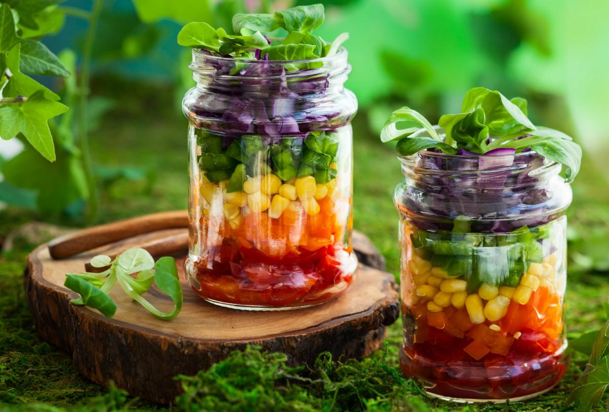 Rainbow Layered Vegetable Salad