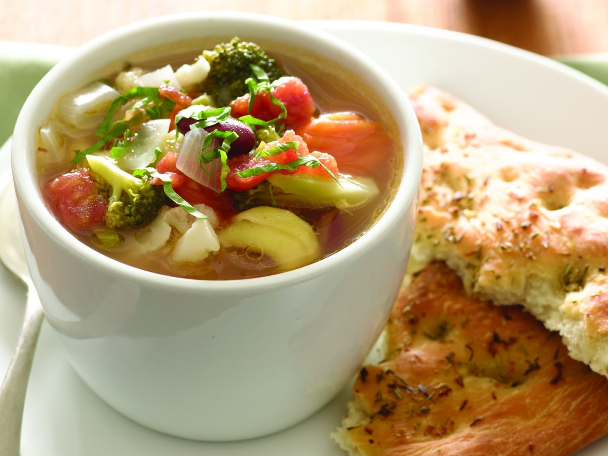 Herbed Focaccia and Minestrone