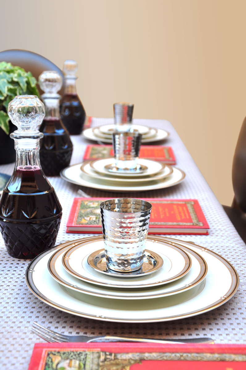 Passover seder goblets and decanters