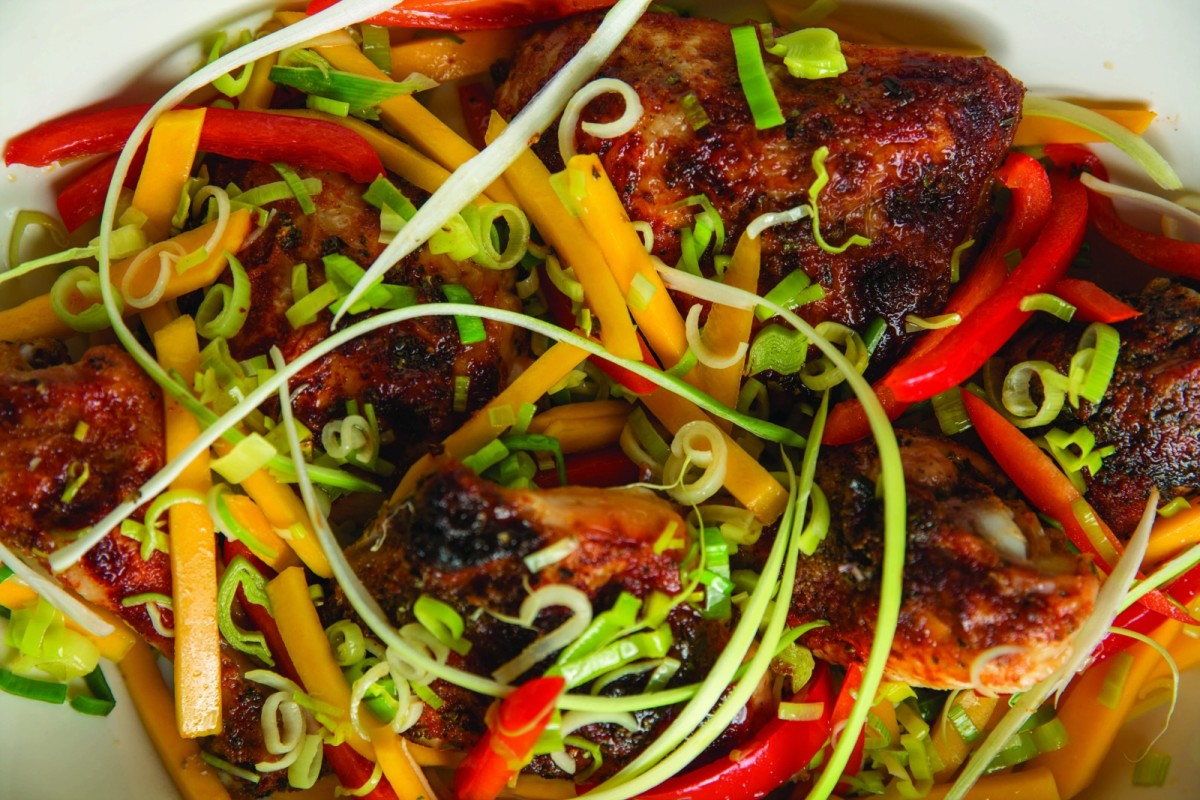 Mango Chicken with Leeks and Red Peppers