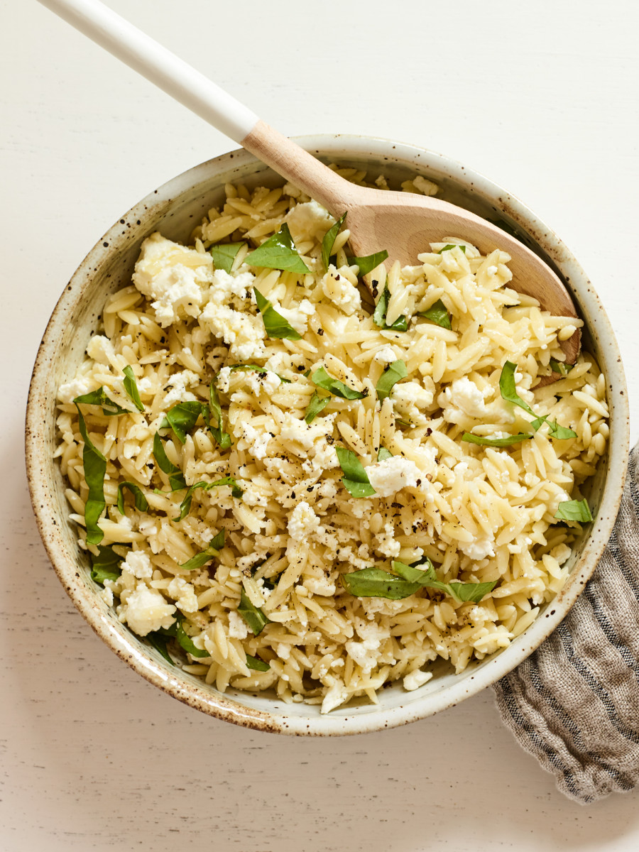 orzo with feta and basil