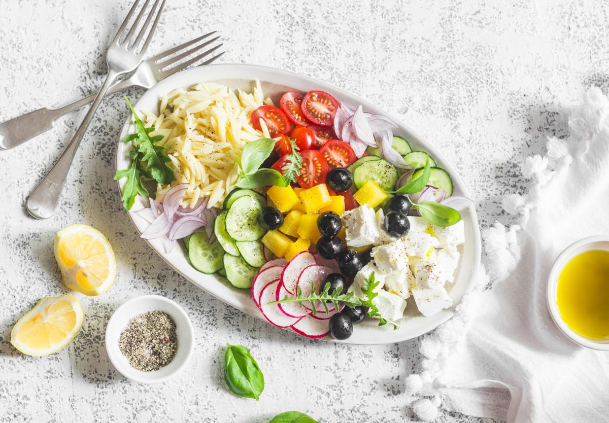 Orzo Tomato Feta Herb Salad