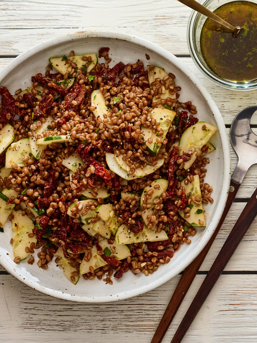 3 ingredient wheatberry salad vertical