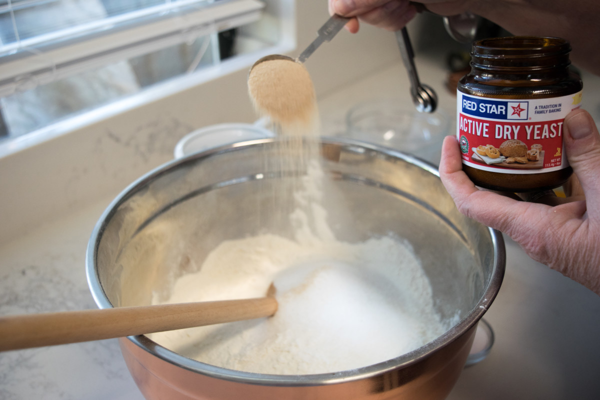 Add all ingredients to the flour in the bowl.