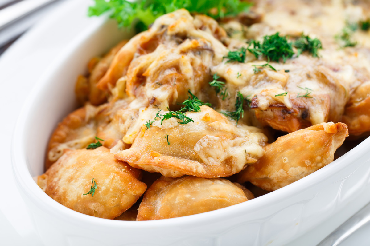 Portabella Mushroom Wontons with Caramelized Onion Cream Sauce