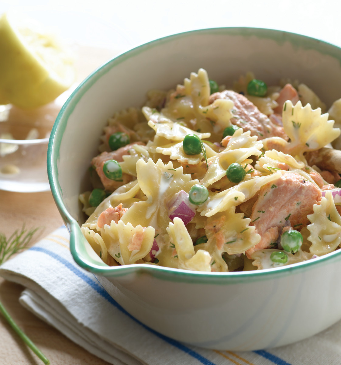 Bowties with Salmon and Peas in Lemon Dill Sauce