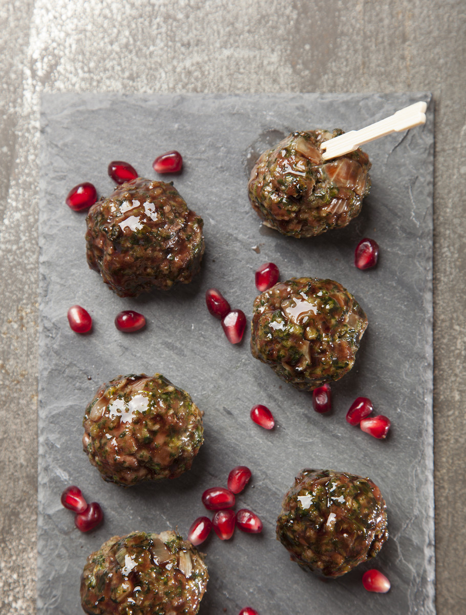Baked Spinach Meatballs with Pomegranate Glaze