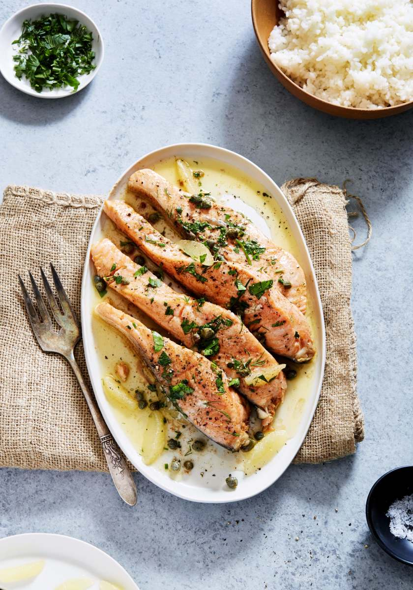 Brown Butter Basted Salmon with Fresh Herbs and Capers