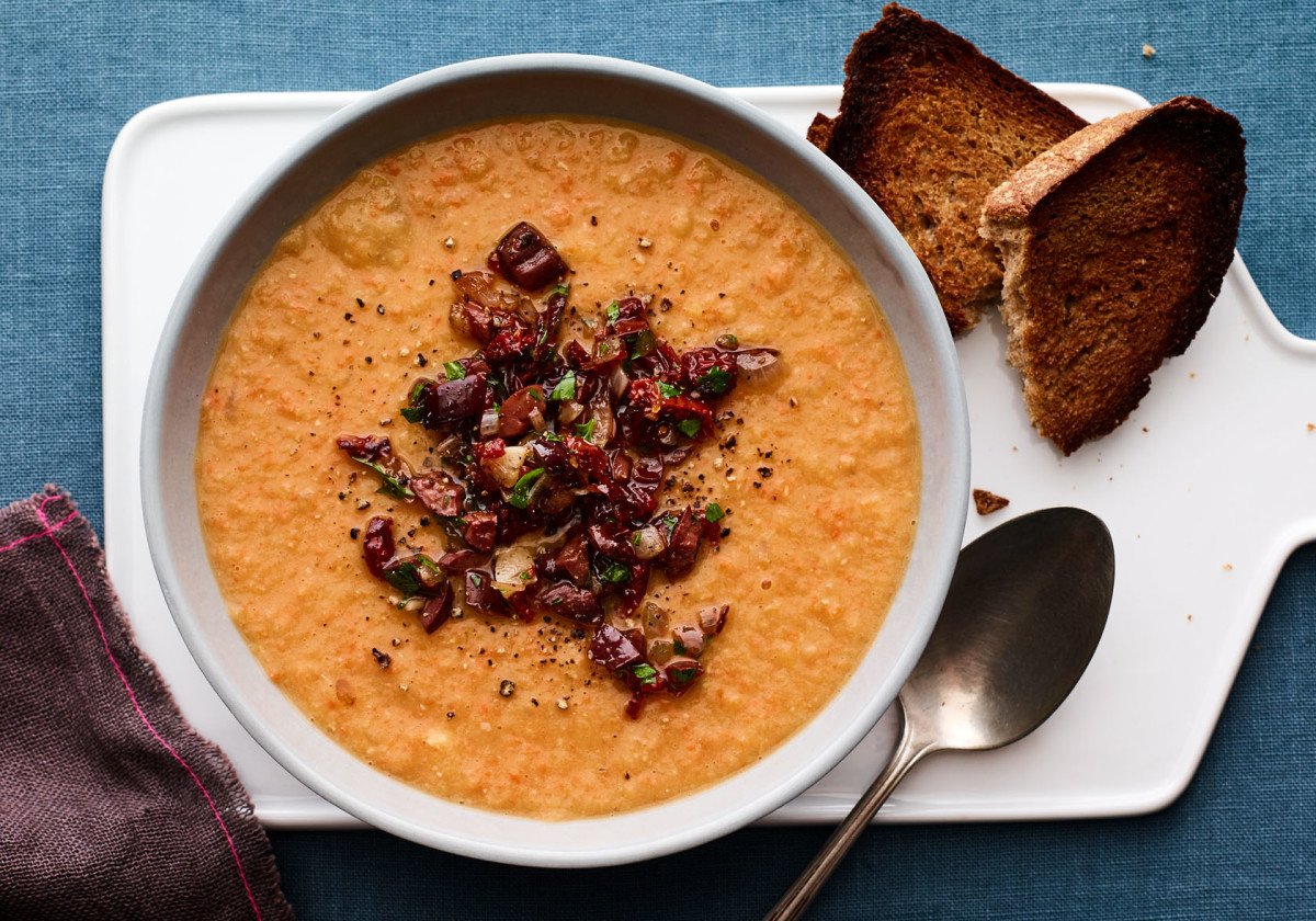 Red Lentil Soup with Sun Dried Tomato Relish