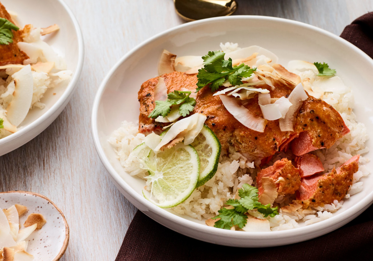 Slow Roasted Coconut-Curry Salmon